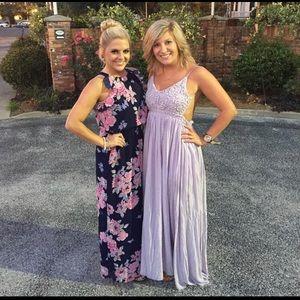 L'atiste Lilac Knit Top Backless Maxi Dress